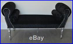 Chaise Longue Lounge Sofa Daybed Bench Seat Crushed Black Velvet. Handmade in UK