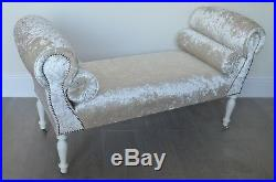 Chaise Longue Lounge Sofa Daybed Bench Seat Crushed Mink Velvet. Handmade in UK