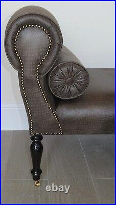 Chaise Longue Lounge Sofa Daybed Bench Seat in Faux Brown Leather