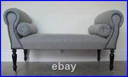 Chaise Longue Lounge Sofa Daybed Bench Seat in Grey Wool
