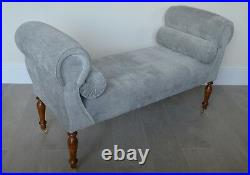 Chaise Longue Lounge Sofa Daybed Bench Seat in Silver Velvet. Handmade in UK