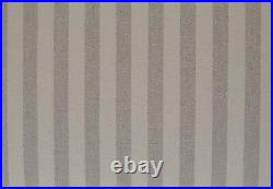 Chaise Longue Lounge Sofa Daybed Seat in Grey/Cream Stripe Print Linen