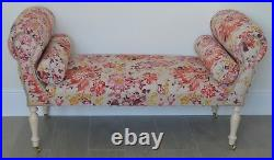 Chaise Longue Lounge Sofa Daybed Seat in a Floral Red/Pink/YellowithPlum Print