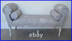 Chaise Longue Lounge Sofa Daybed Seat in a Grey/Lilac Toile De Jouy Print
