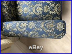 Chaise Longue Ornate French Style Lounge Bedroom Sofa Blue Yellow Gold Fabric