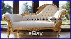 Chaise Longue Ornate Gold Leaf Ivory fabric Lounge Sofa French Style