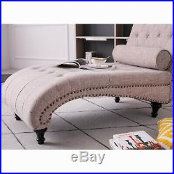 Chaise Longue Recliner Fabric Beige Sofa Bed Chair with Pillow Upholstered Chair