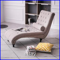 Chaise Longue Recliner Sofa Bed Upholstered FabricBeige with Pillow Endbed Bench