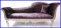 Chaise Longue Silver Right Mulberry Purple Crush Velvet Lounge Sofa Ornate Style