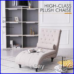 Chaise Longue with Pillow for Living Room Bedroom Fabric Sofa Longue Bed Beige