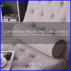 Chaise Longue with Pillow for Living Room Bedroom Fabric Sofa Longue Bed Cushion