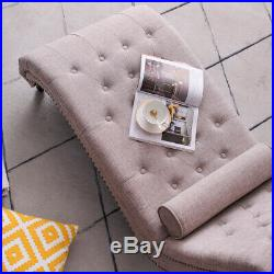 Chaise Lounge Longue Sofa Bed Chair with Pillow Living Room Linen Fabric Beige