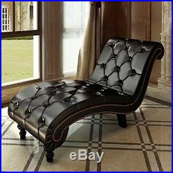 Chaise Lounge Sofa Chesterfield Brown Tufted Chair Vintage Furniture Comfy Seat