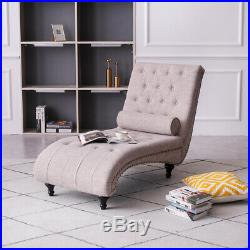 Chaise Sofa Bed Chair Lounge Longue with Pillow Living Room Linen Fabric Beige