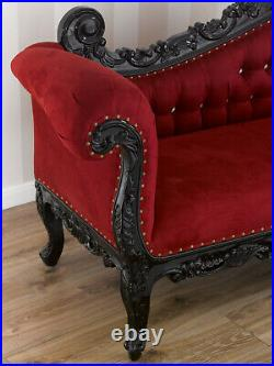 Chaise longue Alejandra Dark Baroque style sofa day bed black lacquered red velv