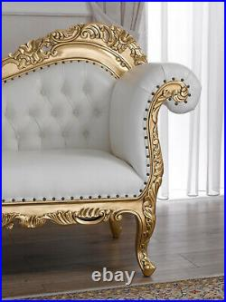 Chaise longue Alejandra Decape Baroque style sofa day bed ivory and gold leaf fa