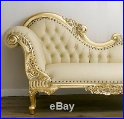 Chaise longue Joana French Baroque Sofa Day Bed Style Gold Leaf Faux Leather Cha