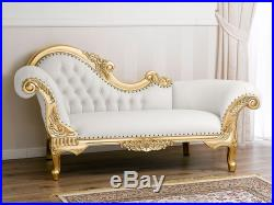 Chaise longue Joana French Baroque Style Sofa Day Bed Gold Leaf Faux Leather Whi