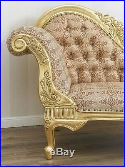 Chaise longue Joana French Baroque style sofa day bed gold leaf damask fabric iv