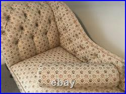 Chaise longue Lounge Sofa Gold/Beige Pattern With Foot Stool Exc Condition