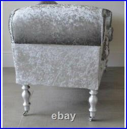 Chaise longue lounge sofa. Crushed Velvet Silver