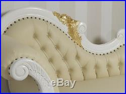 Chaiselongue Joana Decape Baroque Style Sofa Day Bed Ivory Gold Leaf Faux Leathe