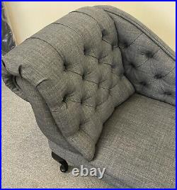 Charcoal Linen Tufted Chesterfield Chaise Lounge Sofa Bedroom Chair Bench SALE
