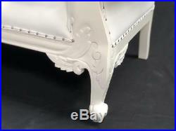 Charles Louis Cuddler Small Ornate Chaise Sofa white faux leather w crystals