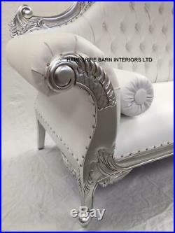 Charles Ornate French Silver Louis Cuddler White Faux Leather Double Chaise Sofa