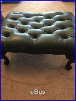 Chesterfield 100% Leather 3Seater Sofa 2Armchairs footrest stool Antique UK Made