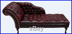Chesterfield Buttoned Seat Leather Chaise Lounge Loungue Day Bed Antique Oxblood