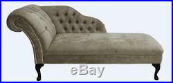 Chesterfield Chaise Lounge Loungue Day Bed Azzuro Mink Fabric Brass Studs