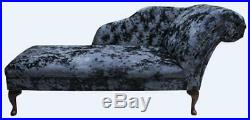 Chesterfield Chaise Lounge Loungue Day Bed Lustro Night Black Crushed Velvet