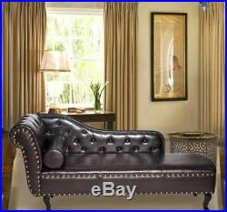 Chesterfield Chaise Lounge Vintage Brown Faux Leather Corner Armchair Daybed