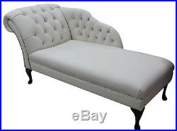 Chesterfield Diamante Crystal Leather Chaise Lounge Loungue Day Bed White
