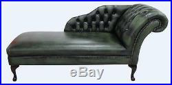 Chesterfield Leather Chaise Lounge Loungue Day Bed Antique Green Left Or Right