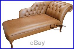 Chesterfield Leather Chaise Lounge Loungue Day Bed Vintage Tan Light Brown