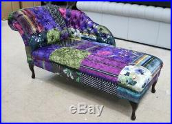 Chesterfield Patchwork Velvet Chaise Lounge Loungue Day Bed Multi Colour