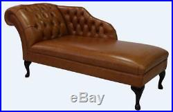 Chesterfield Vintage Leather Chaise Lounge Loungue Day Bed Bruciato Brown
