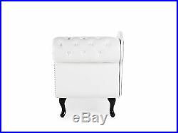 Classic Button Tufted Right Hand Chaise Lounge Faux Leather Glossy White Nimes