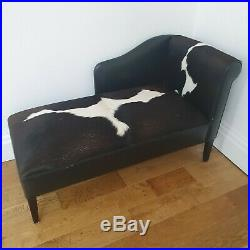 Cow Hide Chaise Lounge Sofa Chair with footstool
