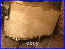 Cream And Gold Chaise Lounge