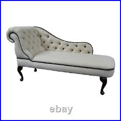 Cream Linen Tufted Chesterfield Chaise Lounge Sofa Bedroom Accent Chair SALE