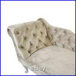 Cream Velvet Chesterfield Tufted Chaise Lounge Sofa Bedroom Accent Chair Bench
