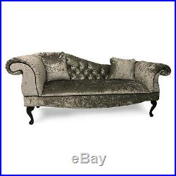 Crushed Grey Velvet Tufted Chaise Lounge Sofa Lounger Classic Button Style