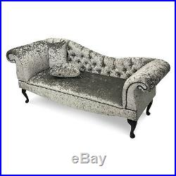 Crushed Silver Velvet Tufted Chaise Lounge Sofa Lounger Classic Button Style
