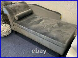 Crushed Velvet Chaise Lounge Grey