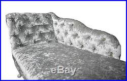 Crushed Velvet Chesterfied Tufted Silver Chaise Lounge Sofa Accent Chair Bedroom