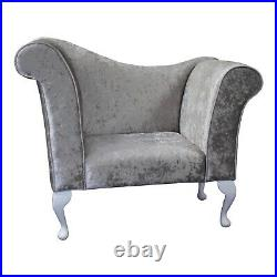 Crushed Velvet Silver Buttoned Chaise Chair Sofa Bedroom Accent Chair Bench