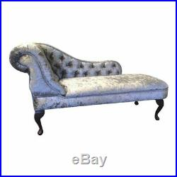 Crushed Velvet Silver Buttoned Chaise Lounge Sofa Bedroom Accent Chair Bench